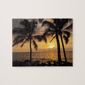 Puesta del sol de la palmera puzzle