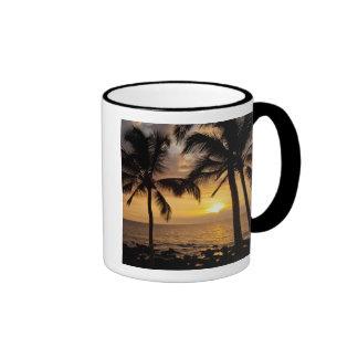 Puesta del sol de la palmera taza de dos colores