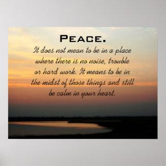 Puesta del sol de la paz póster
