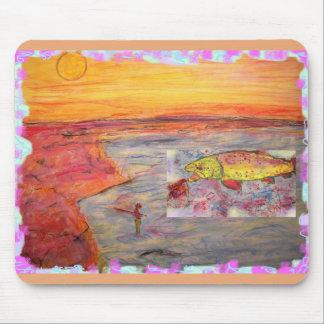 puesta del sol de la pesca con mosca tapete de ratón