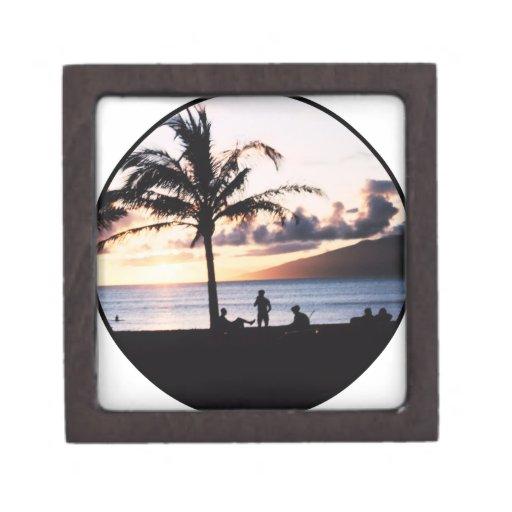 Puesta del sol de la playa cajas de joyas de calidad