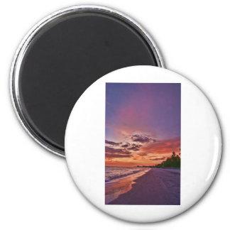 Puesta del sol de la playa de fuerte Myers Imán Redondo 5 Cm