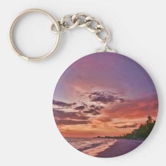 Puesta del sol de la playa de fuerte Myers Llavero Redondo Tipo Pin