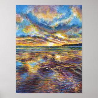 Puesta del sol de la playa de Gower (País de Póster