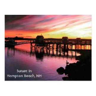 Puesta del sol de la playa de Hampton Tarjetas Postales