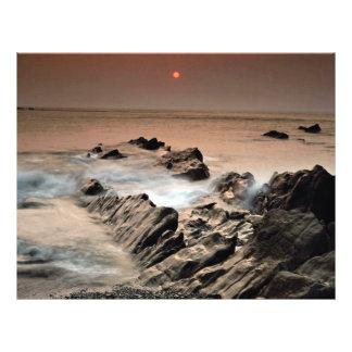Puesta del sol de la playa de Ilfracombe, Devon de Tarjeta Publicitaria
