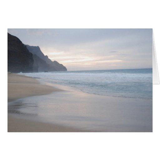 Puesta del sol de la playa de Kalalau Tarjeta Pequeña
