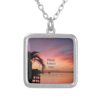 Puesta del sol de la playa de la Florida del día Colgante Cuadrado