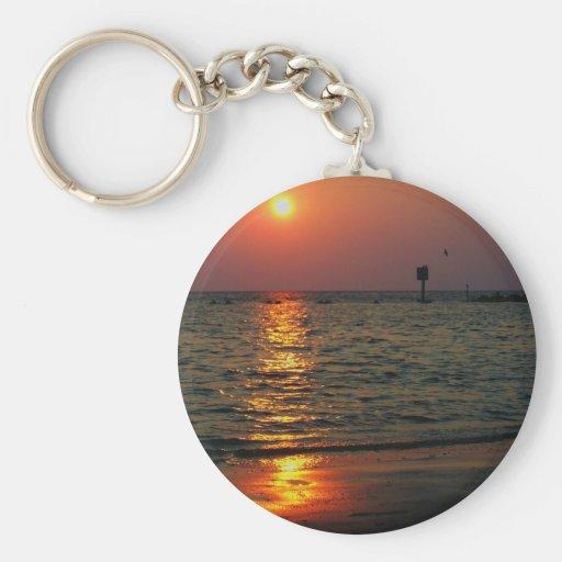 Puesta del sol de la playa de la Florida Llavero Redondo Tipo Pin