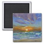 Puesta del sol de la playa de Malibu Imán Cuadrado