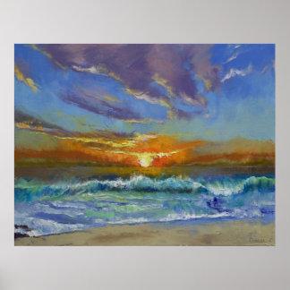 Puesta del sol de la playa de Malibu Impresiones