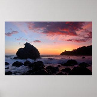 Puesta del sol de la playa de Muir Póster