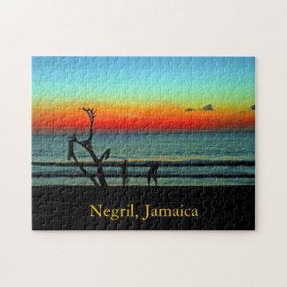 Puesta del sol de la playa de Negril Rompecabezas Con Fotos
