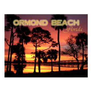 Puesta del sol de la playa de Ormond la Florida Tarjeta Postal