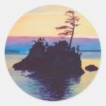 Puesta del sol de la playa de Rockaway por los aws Etiqueta