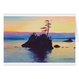 Puesta del sol de la playa de Rockaway por los aws Tarjeta De Felicitación