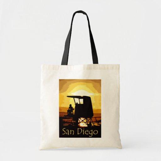 Puesta del sol de la playa de San Diego Bolsas De Mano