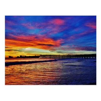 Puesta del sol de la playa de Seacliff. Santa Tarjeta Postal