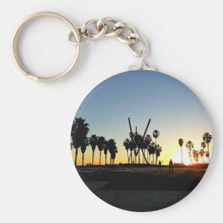 Puesta del sol de la playa de Venecia Llavero Redondo Tipo Pin