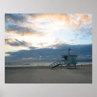 Puesta del sol de la playa de Venecia Póster