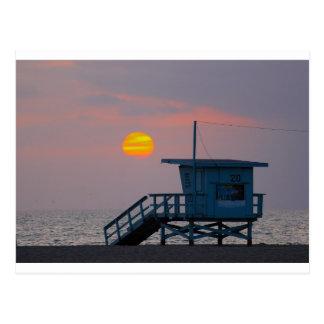 Puesta del sol de la playa de Venecia Tarjeta Postal