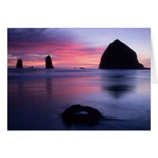 Puesta del sol de la playa del cañón felicitaciones