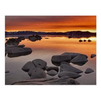 Puesta del sol de la playa del dólar, el lago postales