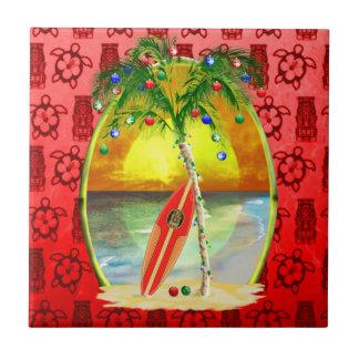 Puesta del sol de la playa del navidad azulejos