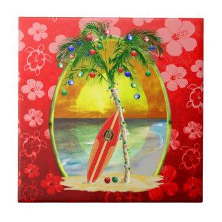 Puesta del sol de la playa del navidad azulejo ceramica