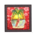 Puesta del sol de la playa del navidad caja de regalo de calidad