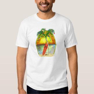 Puesta del sol de la playa del navidad camisas