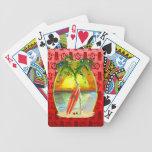 Puesta del sol de la playa del navidad barajas de cartas
