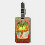 Puesta del sol de la playa del navidad etiquetas bolsas