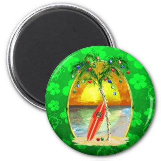 Puesta del sol de la playa del navidad iman de frigorífico
