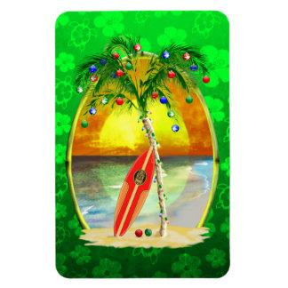 Puesta del sol de la playa del navidad imán de vinilo