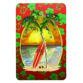 Puesta del sol de la playa del navidad imanes flexibles