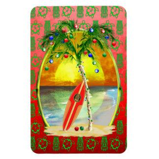 Puesta del sol de la playa del navidad imanes rectangulares