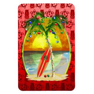Puesta del sol de la playa del navidad imanes de vinilo
