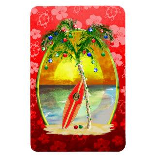 Puesta del sol de la playa del navidad imanes