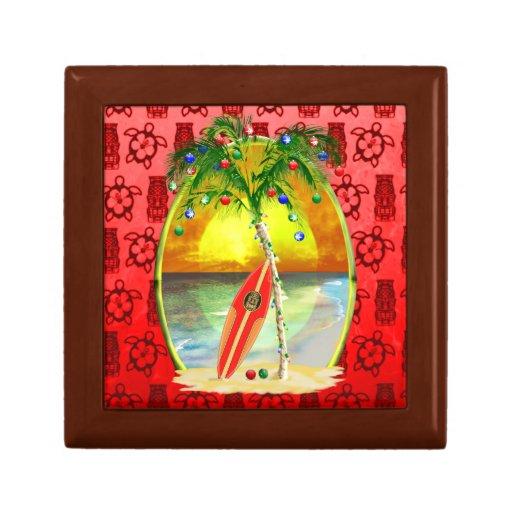 Puesta del sol de la playa del navidad caja de joyas