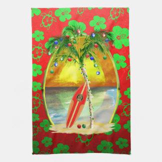 Puesta del sol de la playa del navidad toalla de cocina