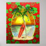 Puesta del sol de la playa del navidad póster
