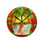 Puesta del sol de la playa del navidad reloj