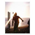 Puesta del sol de la playa del niño membrete a diseño