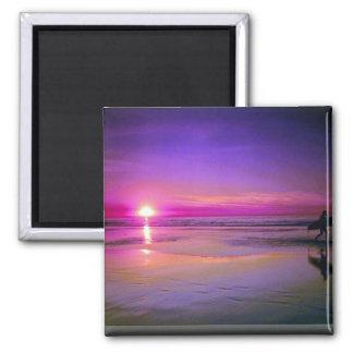 Puesta del sol de la playa iman de frigorífico