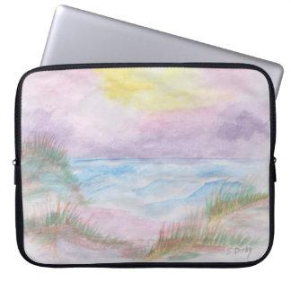 Puesta del sol de la playa mangas computadora
