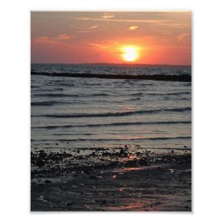 Puesta del sol de la playa impresiones fotograficas
