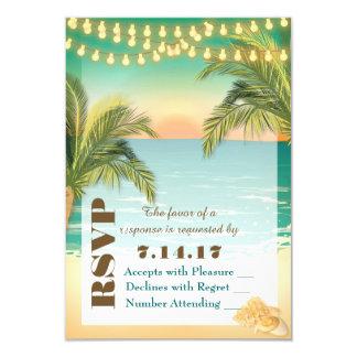 """Puesta del sol de la playa que casa RSVP Invitación 3.5"""" X 5"""""""