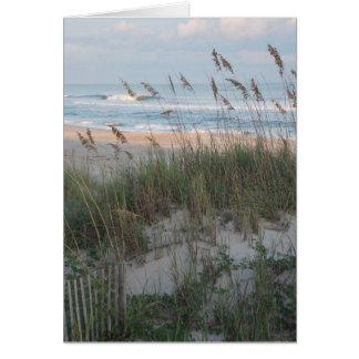 Puesta del sol de la playa tarjeta pequeña