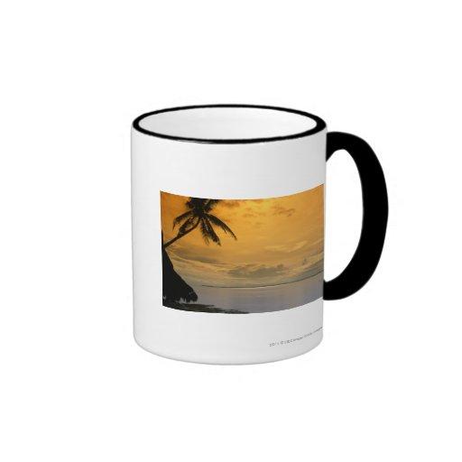 Puesta del sol de la playa tazas